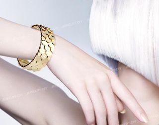 Metal Gold Tone Fish Scales Bracelet Bangle Cuff Chic
