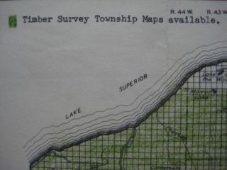 1937 Timber Survey Map Ottawa National Forest Michigan