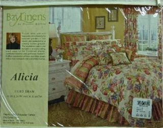 NIP $120 BAY LINENS ALICIA EUROPEAN PILLOW SHAMS STRIPED (2) TAFFETA