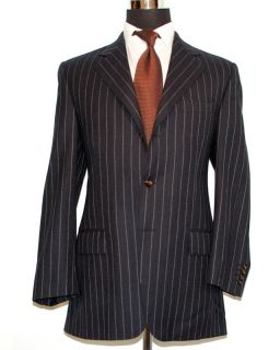 RARE Ike Behar Mens Intense Purple Pinstripe Navy Blue Suit Jacket