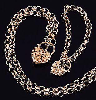 18K rose Gold filled solid belcher heart padlock bolt necklace