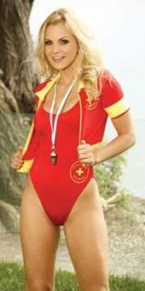 Water Rescue Costume Womens Adult Baywatch Red Swimsuit