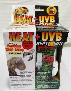 ZOO MED Heat UVB Basking Spot Lamp Reptile Sun Fluorescent Combo Pack