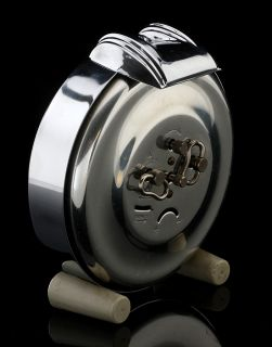 PURE ART DECO MACHINE AGE BAYARD STENTOR TABLE DESK ALARM CLOCK