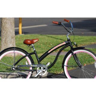 Delux 26 3 Speed Aluminum Womens Beach Cruiser Bicycle Black