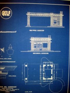 Vintage Gulf Oil Company 1925 Gas Station Blueprint Plan 18 x 24