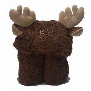 Moose Hooded Bath Towel Kids Cotton NEW 27 X 54 Brown Tan Antlers