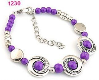 1pc Handmade Tibetan Silver Purple Beaded Charm Bracelet T230