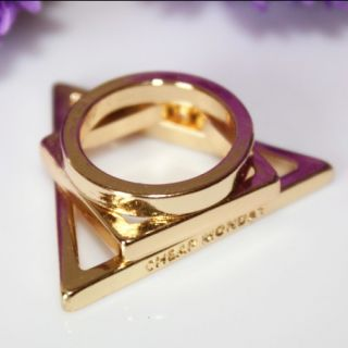 Punk Gold Plated Round Square Triangle Rings 3 Pieces Set