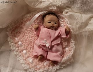 Mini OOAK Original Hand Sculpt Baby Girl Clay Art Doll by Elizabeth