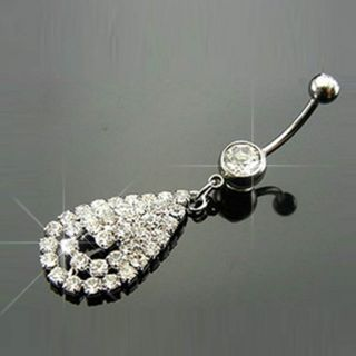 Dangle Barbell Clear Crystal Navel Belly Ring Piercing Jewelry