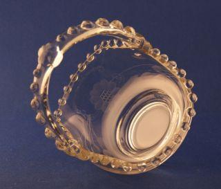 Glass Company Candlewick Cornflower Cut Beaded Handled Basket