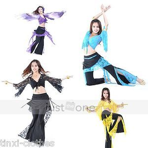 Sexy Belly Dance Charm Dancewear Long Sleeve Lace Tops Pants Skirt
