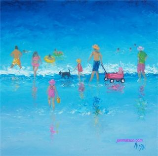 Beach Paintings with People and Children Art Original Oil by Matson
