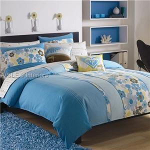 7p Teen Roxy Beach Break Comforter Sheet Set Twin Blue Brown White