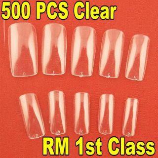 500pcs Clear Full Acrylic Nail Art Tip Beauty Supplies