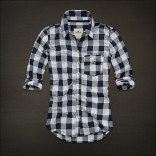 Hollister by Abercrombie A F Women Bay Shore Button Plaid Shirt Navy
