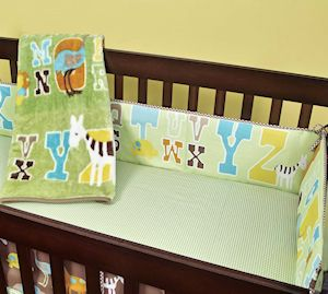 New JUNGLE ANIMALS ABC BABY Boy or Girl 7pc CRIB NURSERY SET