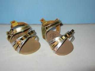 Build A Bear Workshop Silver Gold Strap Sandals Pair