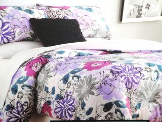 Purple Teal Grey Black Floral Twin XL Dorm Comforter 3pc Set