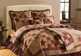 Country Rustic Star Patch Queen Full Quilt Bedding Set
