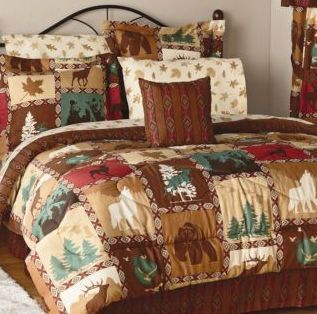 Lodge Bed Set Woodland Bear Deer Wolf Comforter Shams Bed Skirt