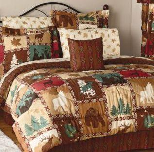 Lodge Bed Set Woodland Bear Deer Wolf Comforter Shams Bed Skirt