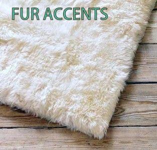 x10 White Bear Skin Area Rugs Faux Fur Sheepskins Cabin Accent Shag