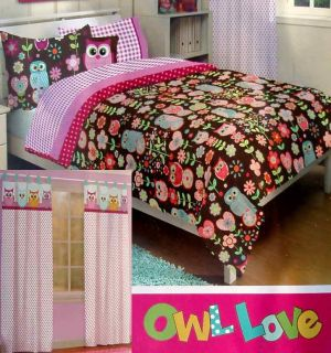 Pink Floral Twin Comforter Sheets Drapes 5pc Bedding Set New