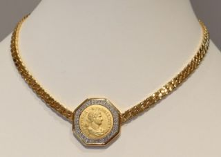 Stunning Vtg Ben Amun Ancient Roman Coin Rhinestone Choker Necklace