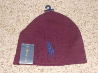 NWT MENS RALPH LAUREN POLO BEENIE CAP BEANIE HAT WINTER SKI BIG PONY