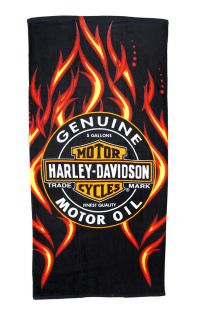 Harley Davidson Oil Label and Flames Beach Towel 30 in. X 60 in.