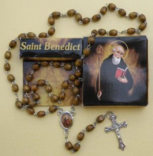 St Benedict Wood Rosary Includes Gift Box