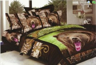 New 4 PC Bed Set Comforter Queen Size Animal Bear Print with Inside