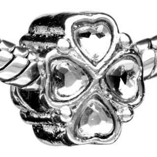 Pugster Clover Silver Tone Charm Bead for Bracelet A73
