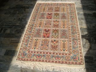 Bakhtiari Hand Knotted Rug Flo Carpet Silk Wool New 5x3