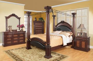 Grand Prado Queen Bedroom Collection Poster Scrolled Top Cherry 5