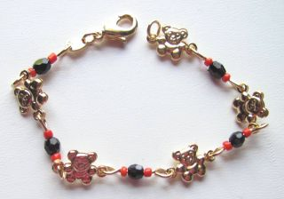 Baby Bracelet Teddy Bears Azabache & Coral 5 inches 14 kt gold