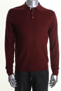 Geoffrey Beene New Red Wide Rib Long Sleeve Polo Sweater L BHFO