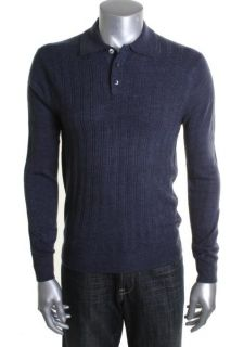 Geoffrey Beene New Navy Marled Wide Ribbed Long Sleeves Polo Sweater