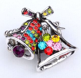 Multi Color Crystal Christmas Bell Stretchy Ring Jewelry