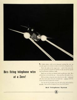1942 Ad Bell Telephone Long Distance Military Calling WWII Airplane