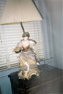Large Antique Italian Porcelain Figural Beautiful Peasant Girl Table