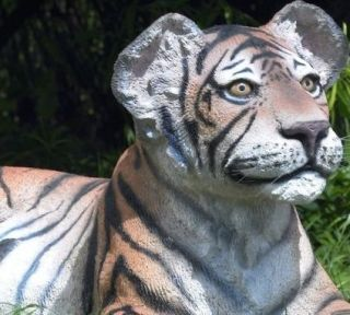 Wild Beauty Lying Tiger Cub Statue Home Yard Garden Decor Display