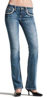 Miss Me Jean Leather Flap Pocket Cross Stitch Boot Cut