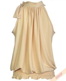 Halter Neck Draped Ruched Top Blouse Flattering Bow Tie Party Evening