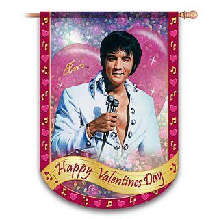 Elvis Happy Valentines Day Indoor Outdoor Decor Flag