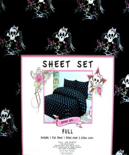 Pink Cookie Skulls Black 4pc Full Size Sheets Bedding Set New