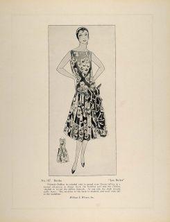 1926 Print Art Deco Fashion Haute Couture Dress Berthe Original