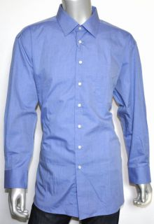 250 Ike Behar Blue 100 Cotton Dress Shirt 17 33